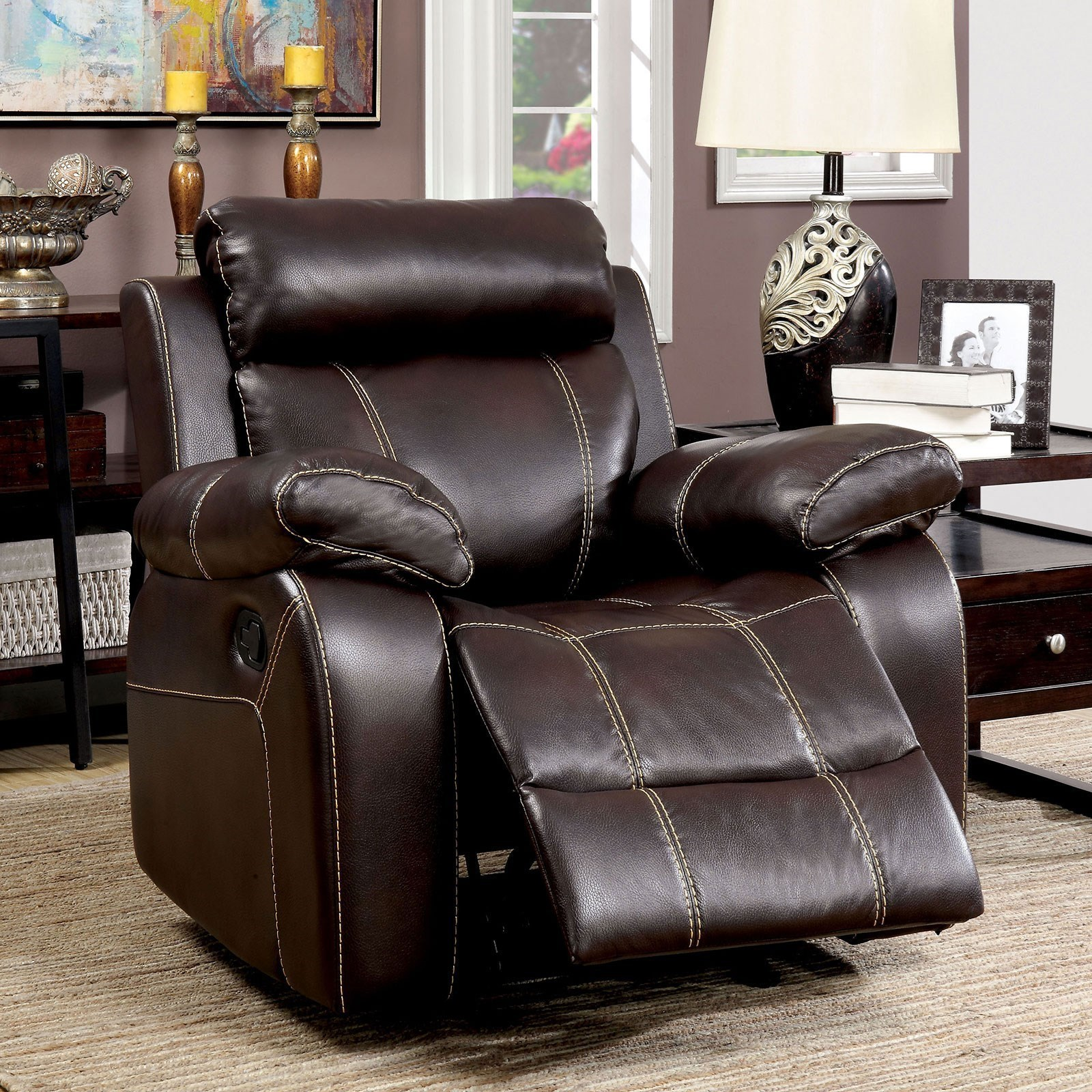 Recliner Pillow Chancellor Recliner With Pillow Arms And Contrast Stitching By Furniture Of America At Dream Home Furniture